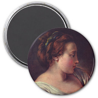 Young Girl Jeune fille by Francois Boucher 7.5 Cm Round Magnet