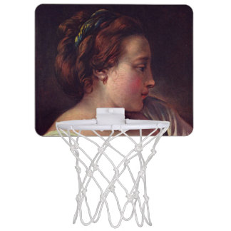 Young Girl Jeune fille by Francois Boucher Mini Basketball Hoop