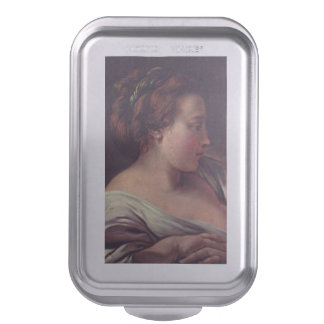 Young Girl Jeune fille by Francois Boucher Cake Pan