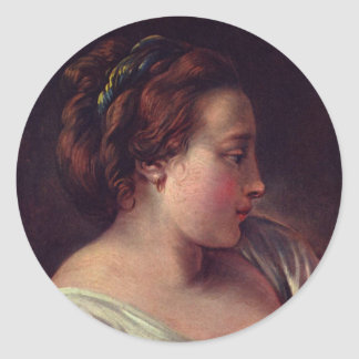 Young Girl Jeune fille by Francois Boucher Round Sticker
