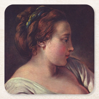 Young Girl Jeune fille by Francois Boucher Square Paper Coaster