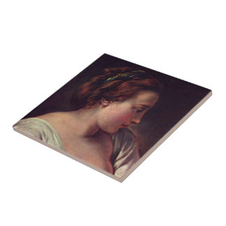 Young Girl Jeune fille Small Square Tile