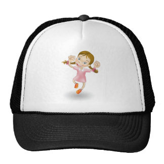 Young girl jumping for joy mesh hats