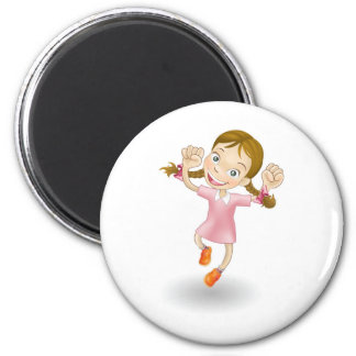 Young girl jumping for joy refrigerator magnets