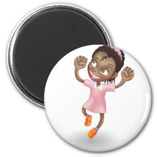 Young girl jumping for joy refrigerator magnet
