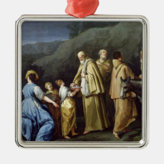 Young Girl Offering Eggs to a Group of Monks Silver-Colored Square Decoration