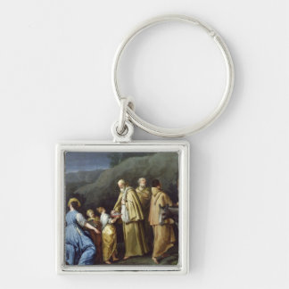 Young Girl Offering Eggs to a Group of Monks Silver-Colored Square Key Ring