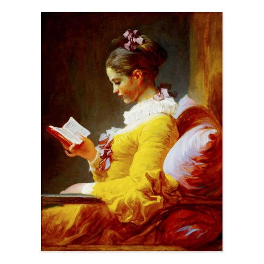 Young Girl Reading - 18th century painting Postcard
