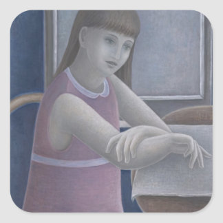 Young Girl Reading 2008 Square Sticker