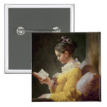 Young Girl Reading, c.1776 15 Cm Square Badge