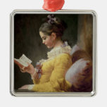 Young Girl Reading, c.1776 Silver-Colored Square Decoration