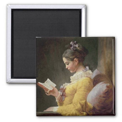 Young Girl Reading, c.1776 Square Magnet