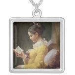 Young Girl Reading, c.1776 Square Pendant Necklace