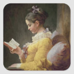 Young Girl Reading, c.1776 Square Stickers