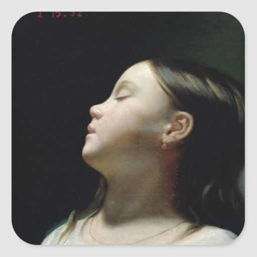 Young Girl Sleeping, 1852 Square Stickers