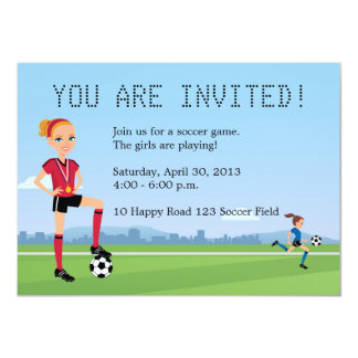 Young Girl Soccer Game Invitation