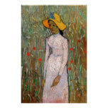 Young Girl Standing at Wheat Fields - van Gogh
