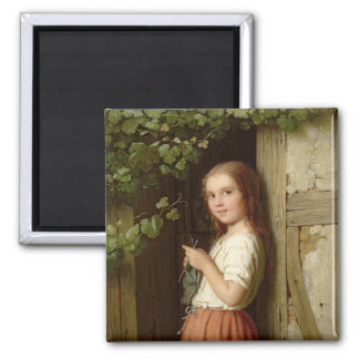 Young Girl Standing in a Doorway Knitting, 1863 Magnet
