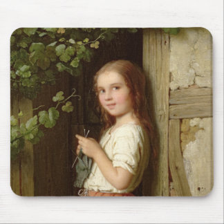 Young Girl Standing in a Doorway Knitting, 1863 Mouse Mat