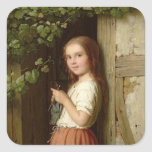 Young Girl Standing in a Doorway Knitting, 1863 Stickers