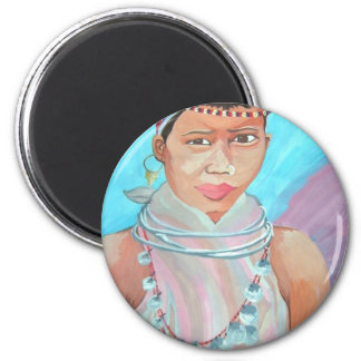 Young Girl Watercolor Painting Magnets