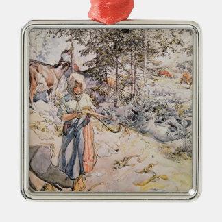 Young Girl Weaving, 1905 Christmas Ornament