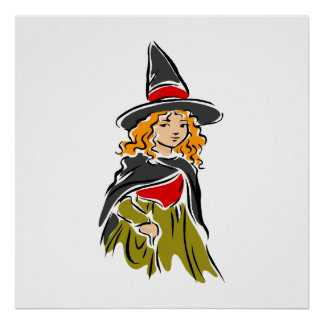 Young Girl Witch Poster