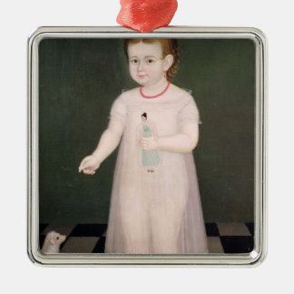 Young Girl with a Doll, 1838 Silver-Colored Square Decoration