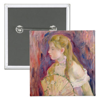 Young Girl with a Fan, 1893 15 Cm Square Badge