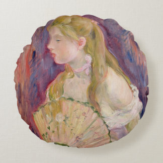 Young Girl with a Fan, 1893 Round Cushion