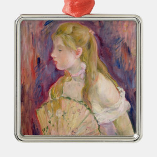 Young Girl with a Fan, 1893 Silver-Colored Square Decoration
