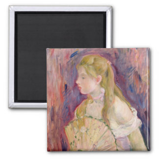 Young Girl with a Fan, 1893 Square Magnet