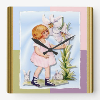 Young girl with a flower and rabbits square wallclock