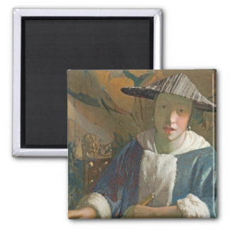 Young Girl with a Flute, c.1665-70 Square Magnet