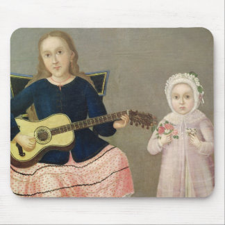 Young Girl with a Guitar and Child with a Mouse Pad
