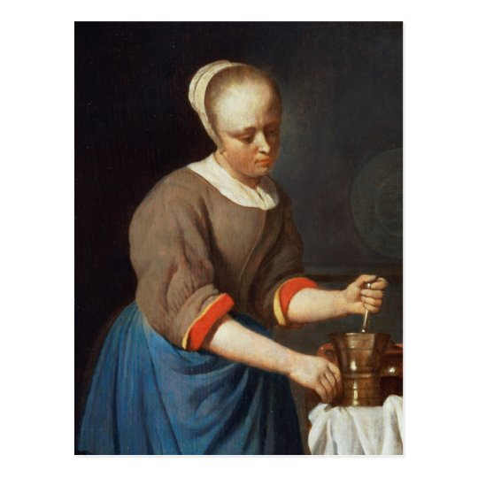 Young girl with a pestle and mortar postcard