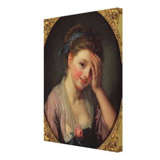 Young Girl with a Rose Canvas Print