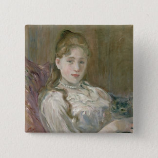 Young Girl with Cat, 1892 15 Cm Square Badge