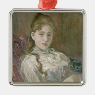 Young Girl with Cat, 1892 Christmas Ornament