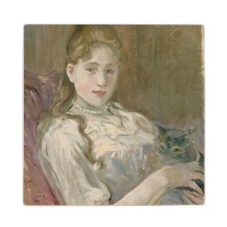 Young Girl with Cat, 1892 Maple Wood Coaster
