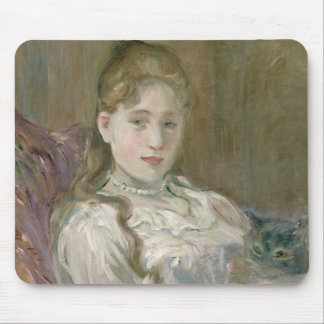 Young Girl with Cat, 1892 Mouse Mat