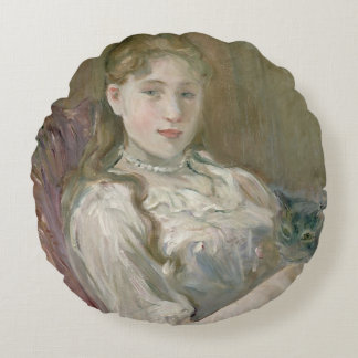 Young Girl with Cat, 1892 Round Cushion
