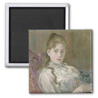 Young Girl with Cat, 1892 Square Magnet
