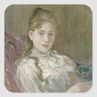 Young Girl with Cat, 1892 Square Sticker