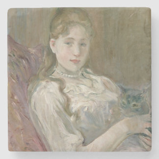 Young Girl with Cat, 1892 Stone Beverage Coaster