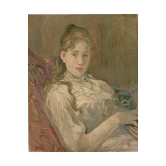 Young Girl with Cat, 1892 Wood Print