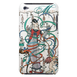 YOUNG GIRL WITH COLORFUL RIBBON SWIRLS AND CUPID BARELY THERE iPod CASE