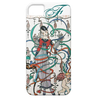 YOUNG GIRL WITH COLORFUL RIBBON SWIRLS AND CUPID iPhone 5 COVERS