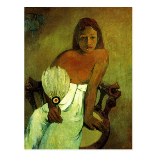 Young girl with fan - Paul Gauguin Postcard