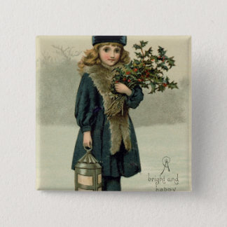 Young girl with Holly and Lantern 15 Cm Square Badge